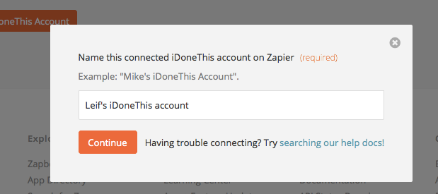 Name this connected I Done This account on Zapier