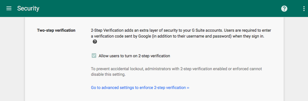 Enable 2-step verification in G Suite