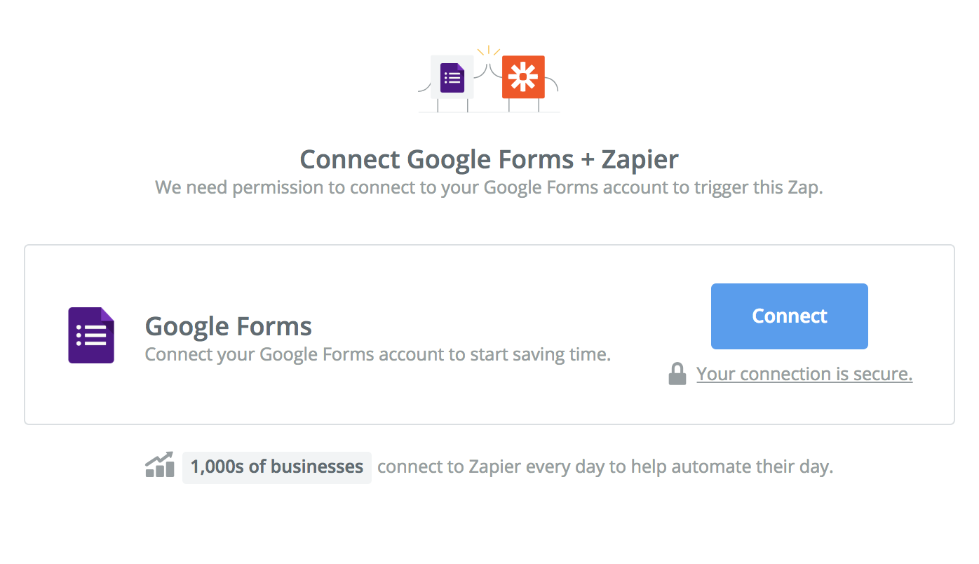 Click to connect Google Forms