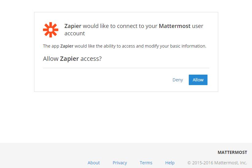 Authorize Mattermost on Zapier