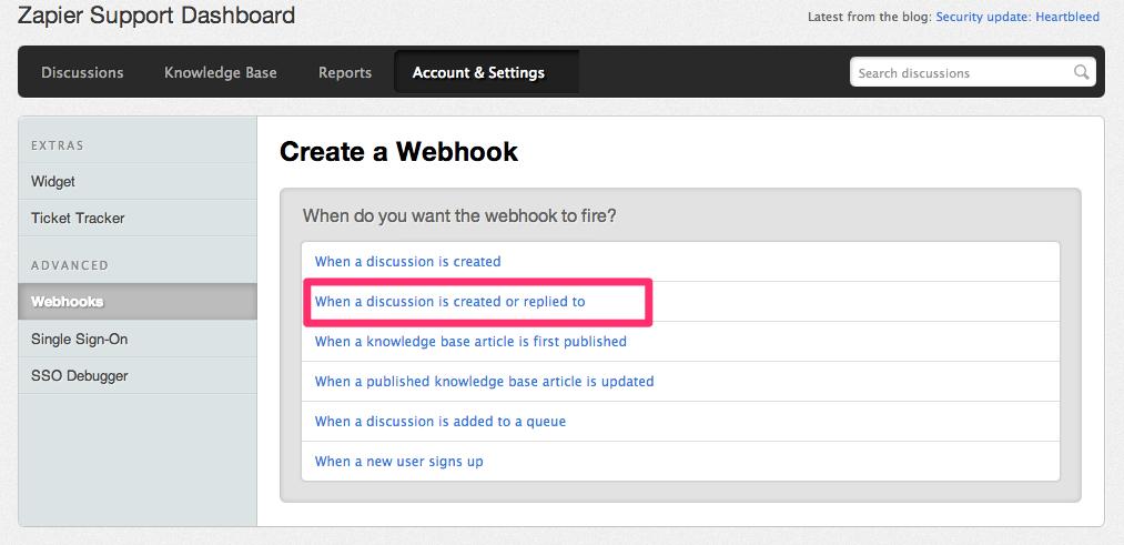 Tender Support Configure Webhook