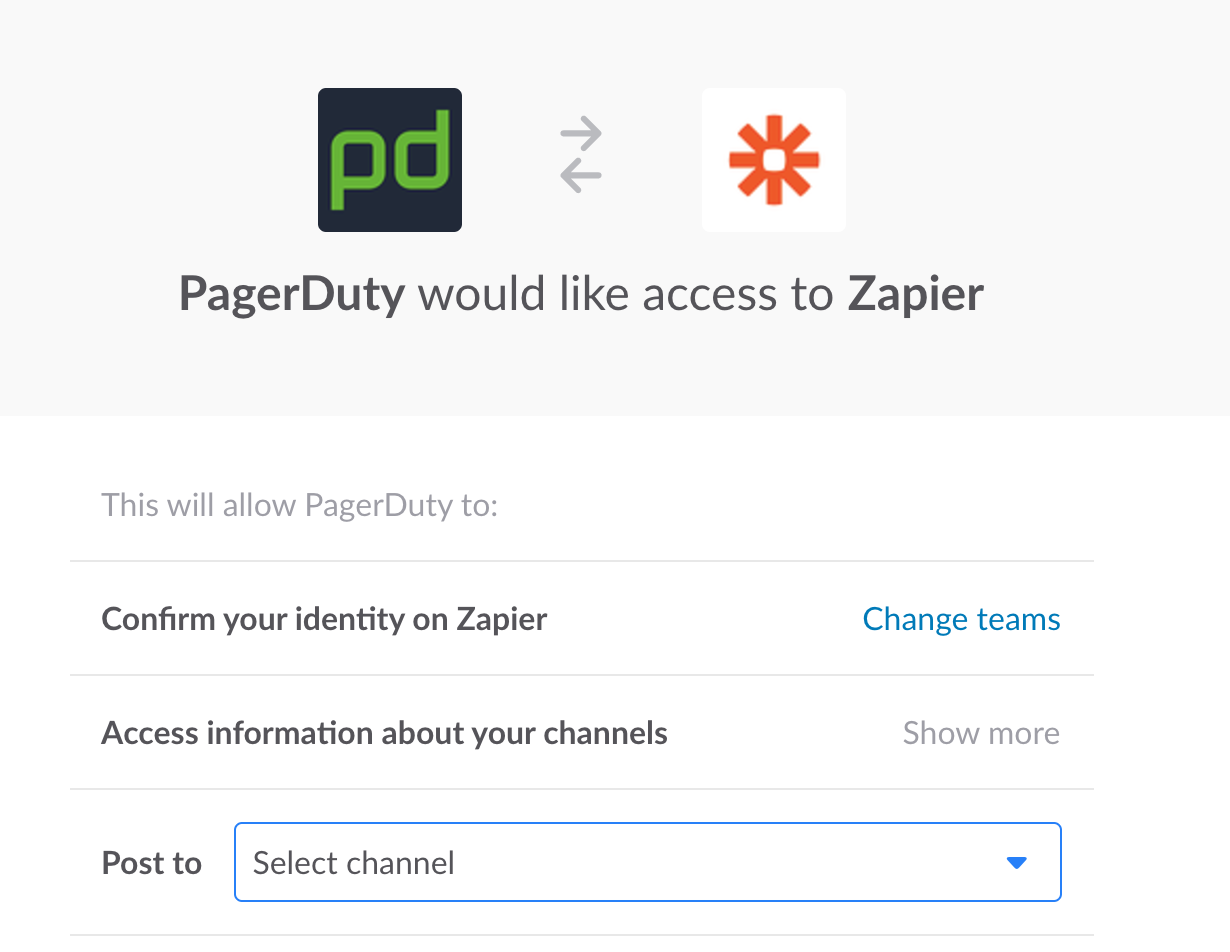 PagerDuty requesting Slack permissions