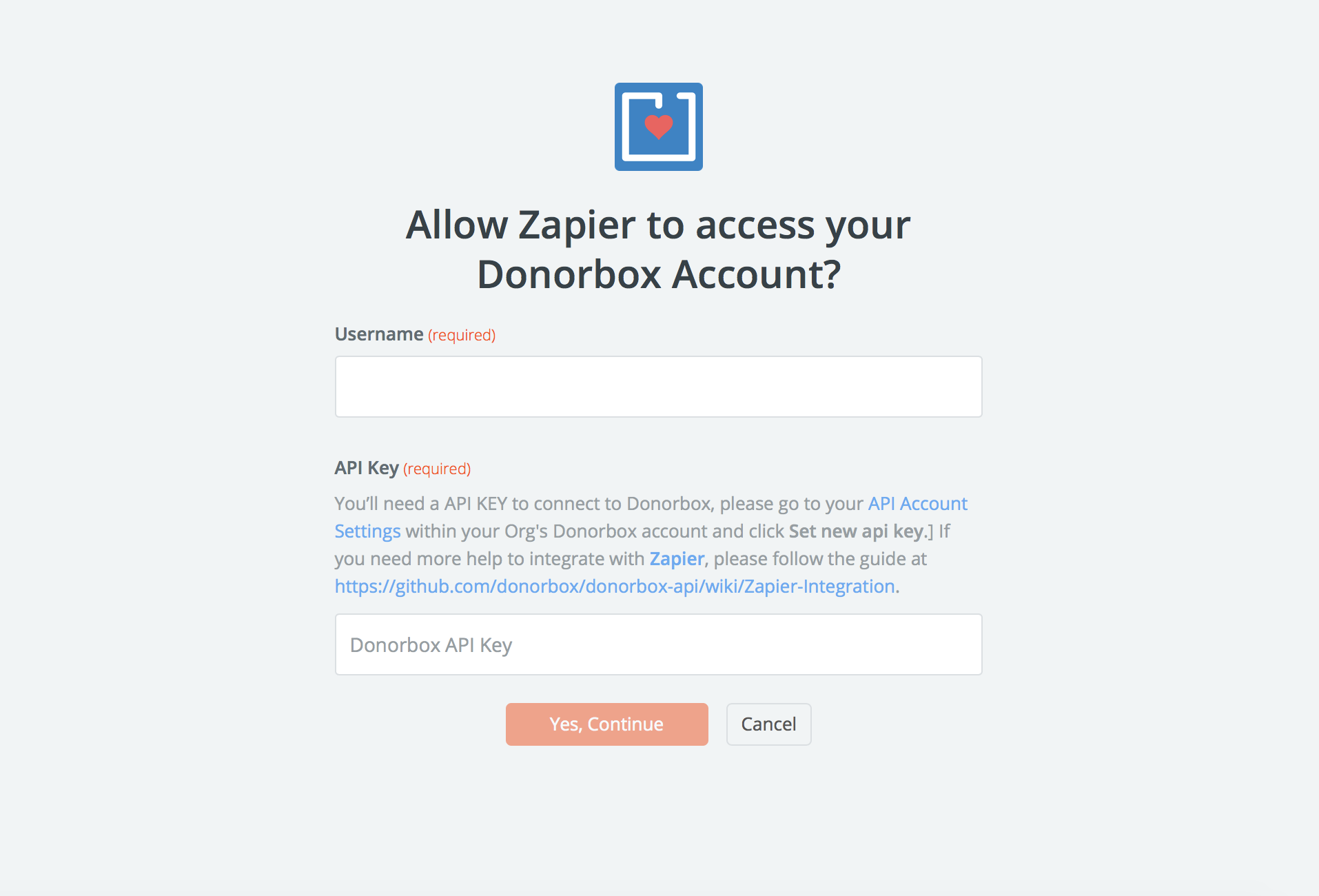 Donorbox username and password