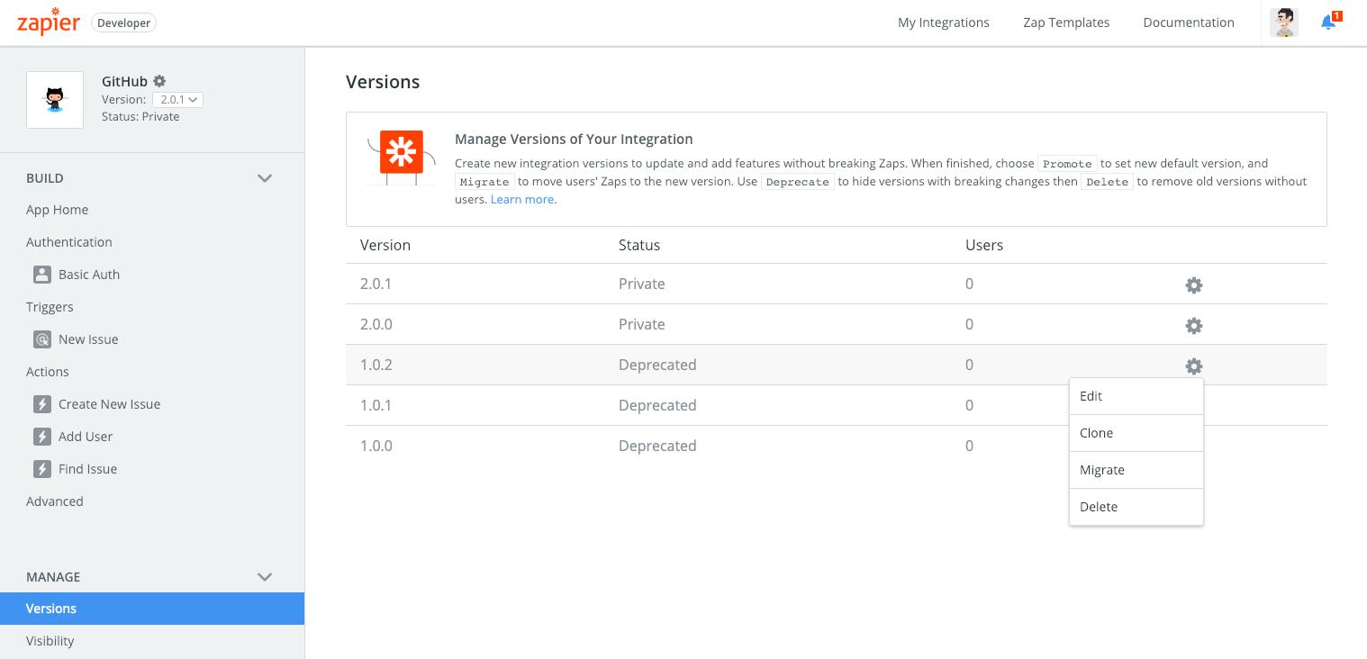 Zapier integratin versions
