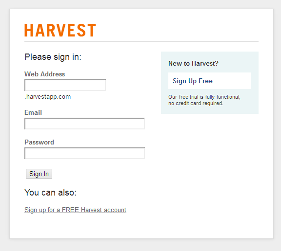 Log in to authorize your Harvest account