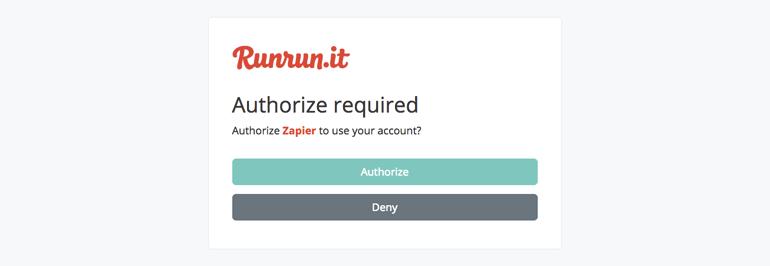 Authorize Runrun.it on Zapier