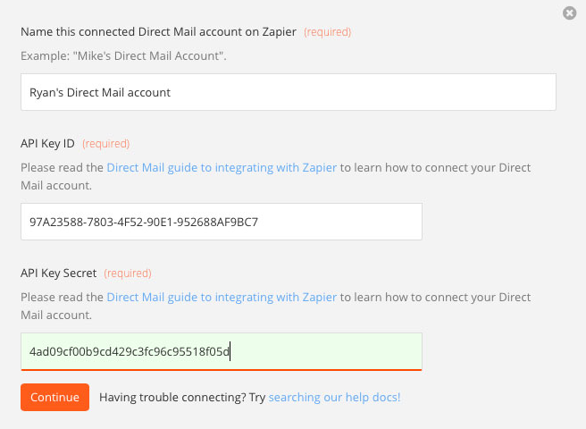 API key credentials in Zapier