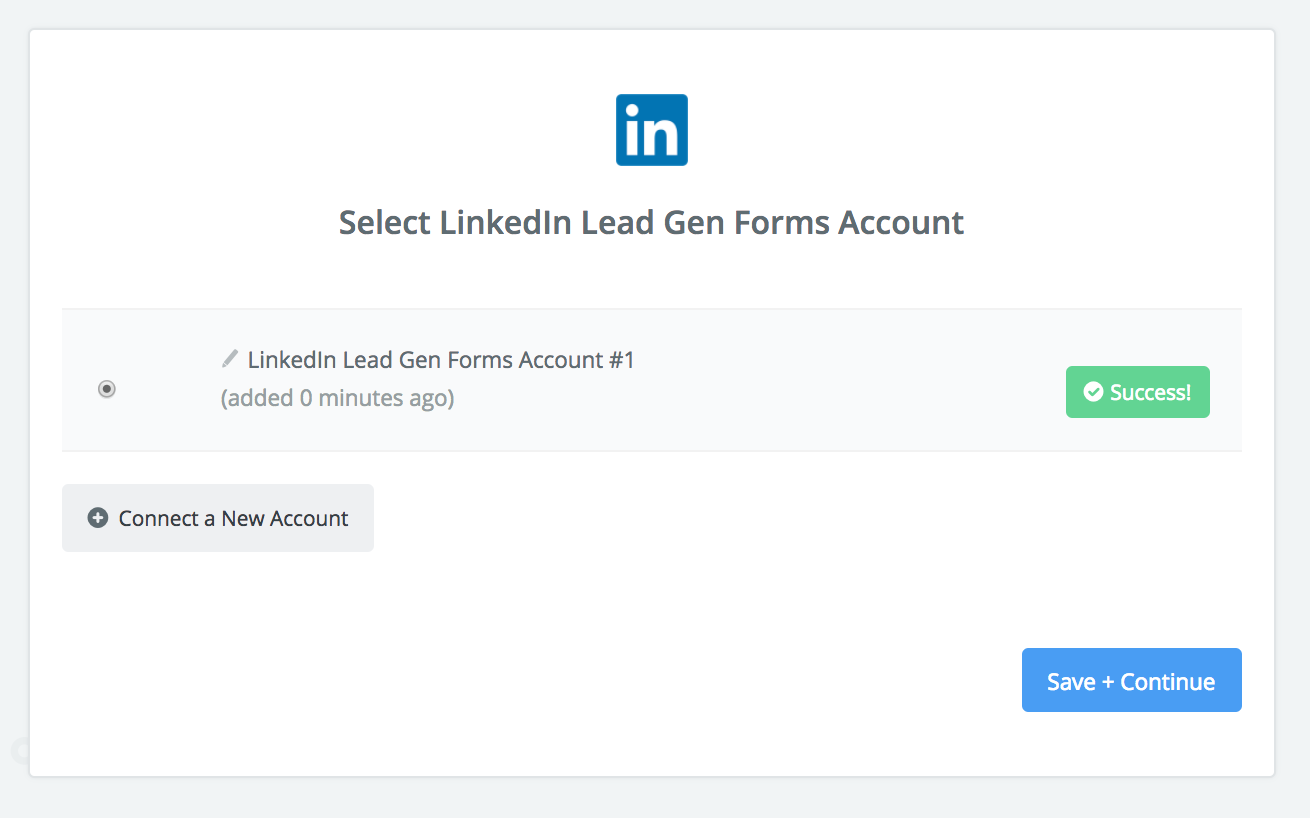 LinkedIn connection successfull