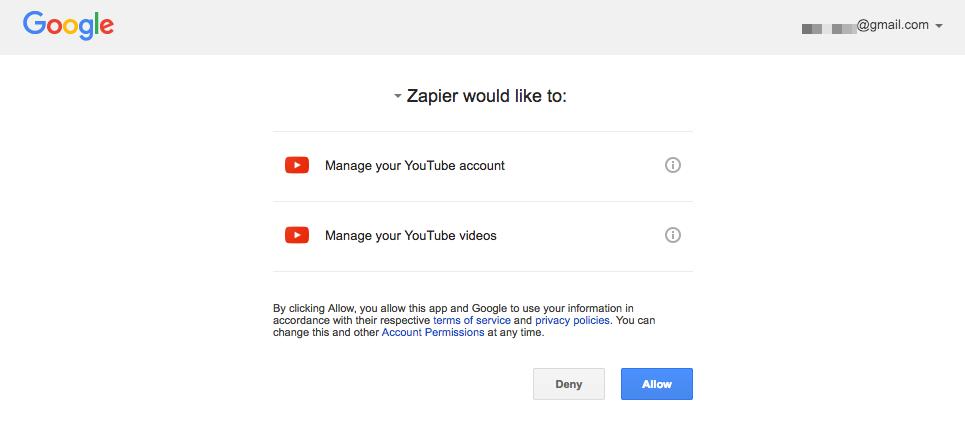 YouTube authorization