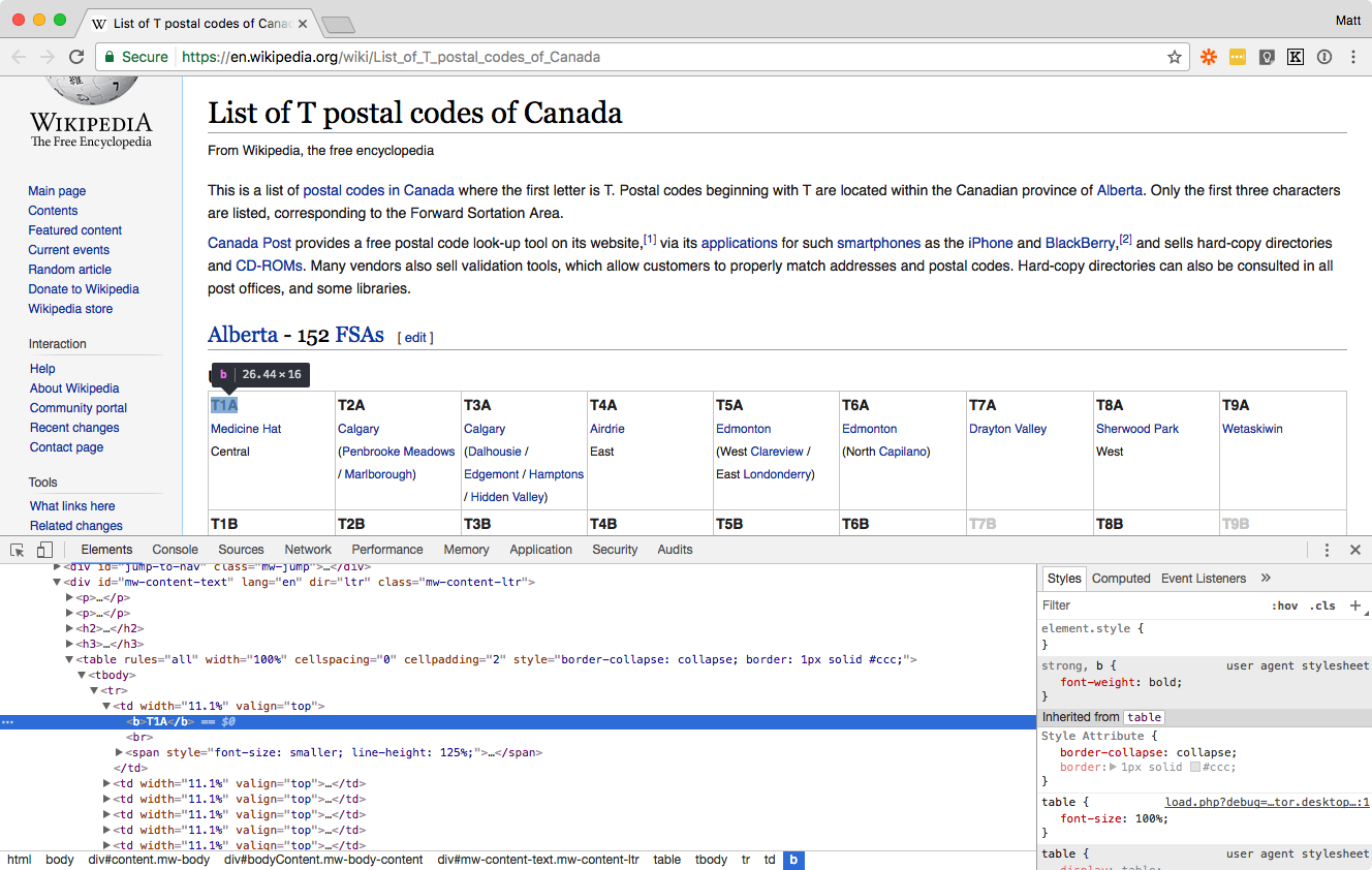 Inspect element in Wikipedia