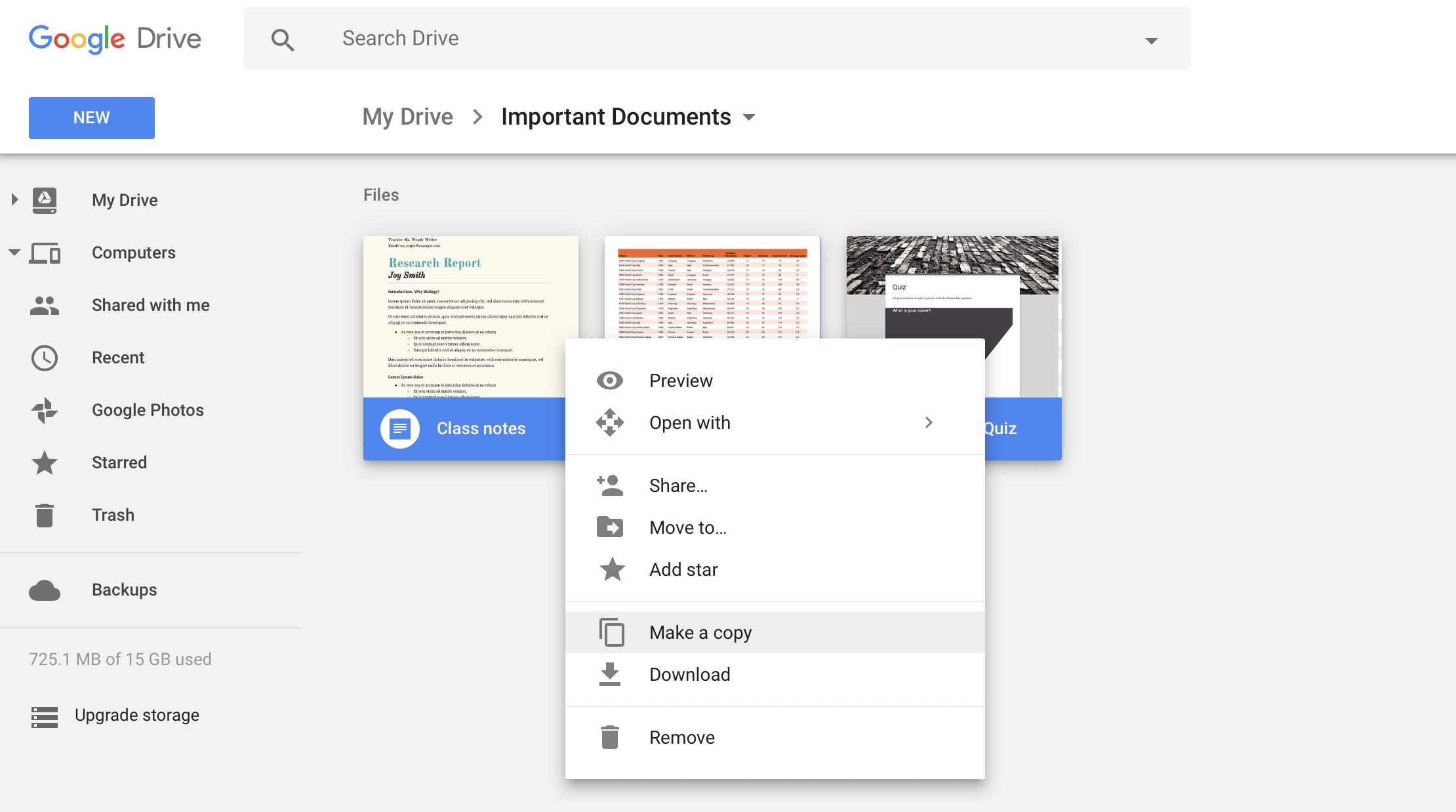 Select all Google Drive Files