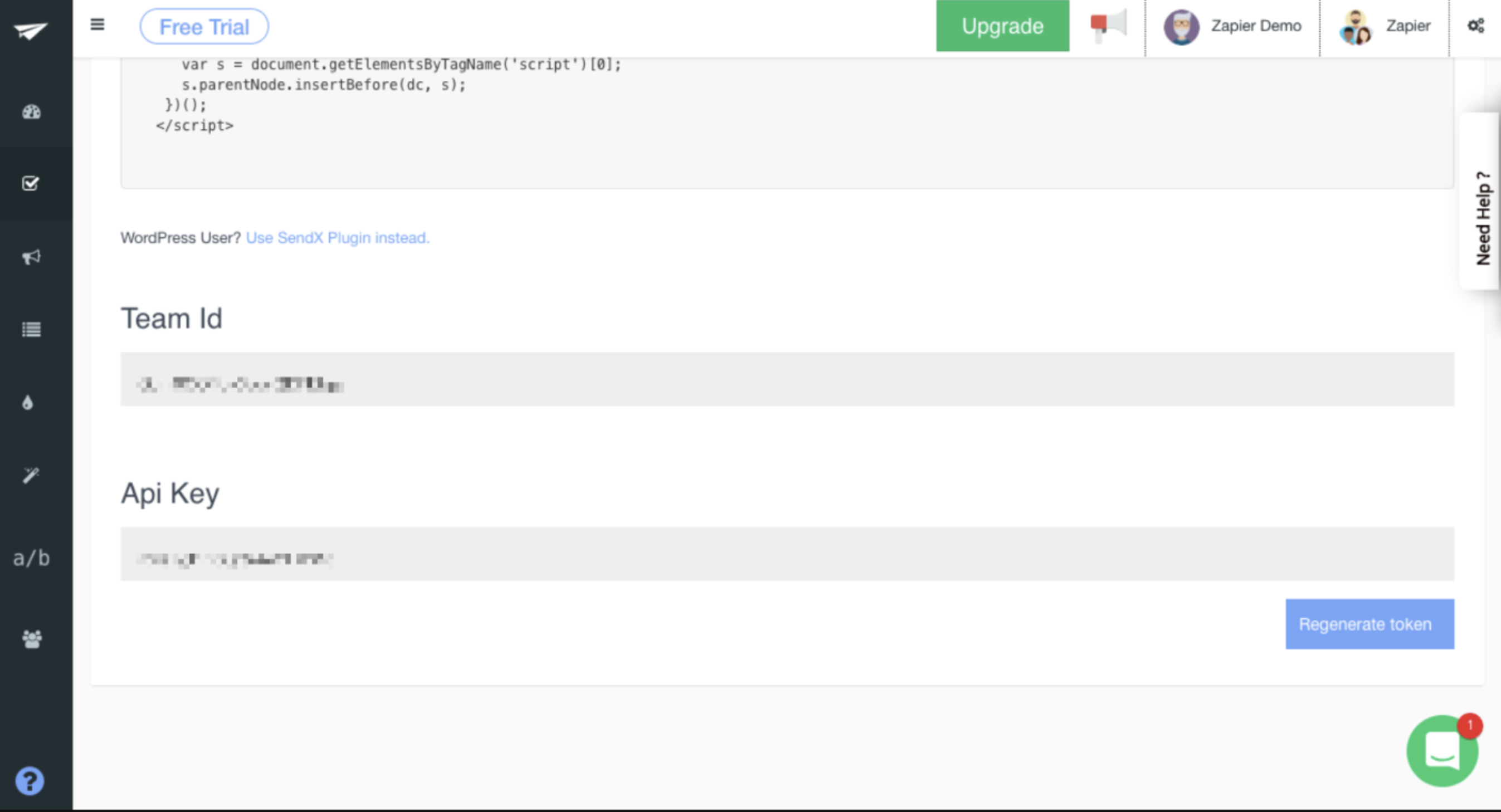 SendX API Key in account