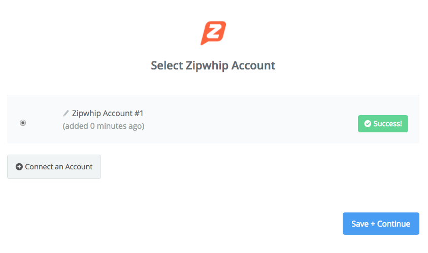 Zipwhip connection successfull