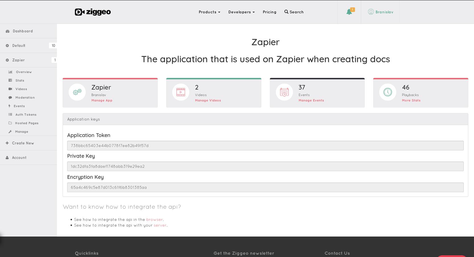 Ziggeo API Key in account