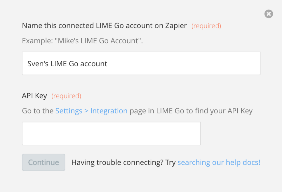 LIME Go API Key