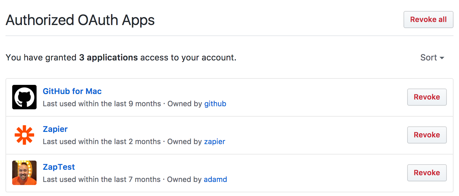 GitHub OAuth revoke screen