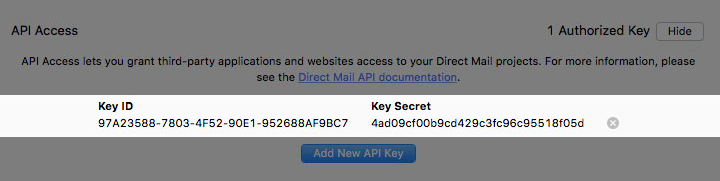 API key credentials in Direct Mail