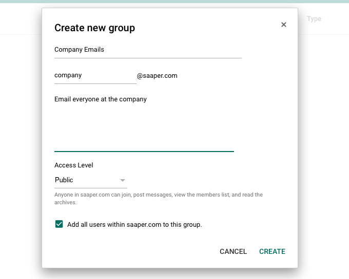 Create company Google Group email
