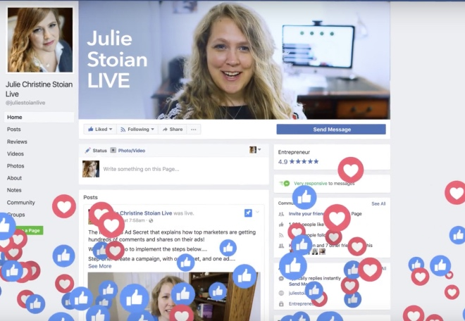 Julie during one of her live sessions on Facebook.