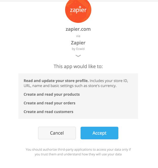 Authorize Ecwid on Zapier