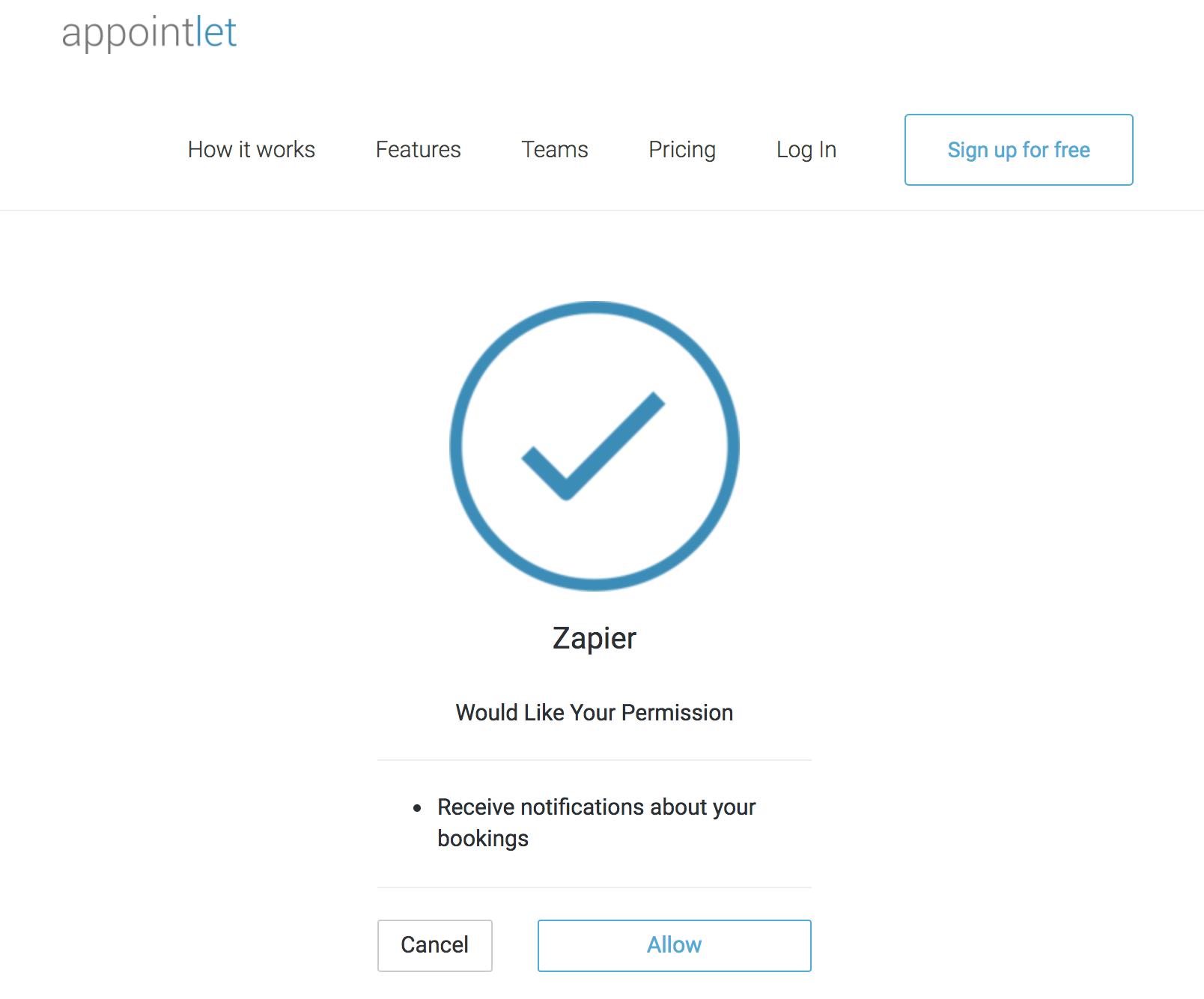 Appointlet Zapier Permissions