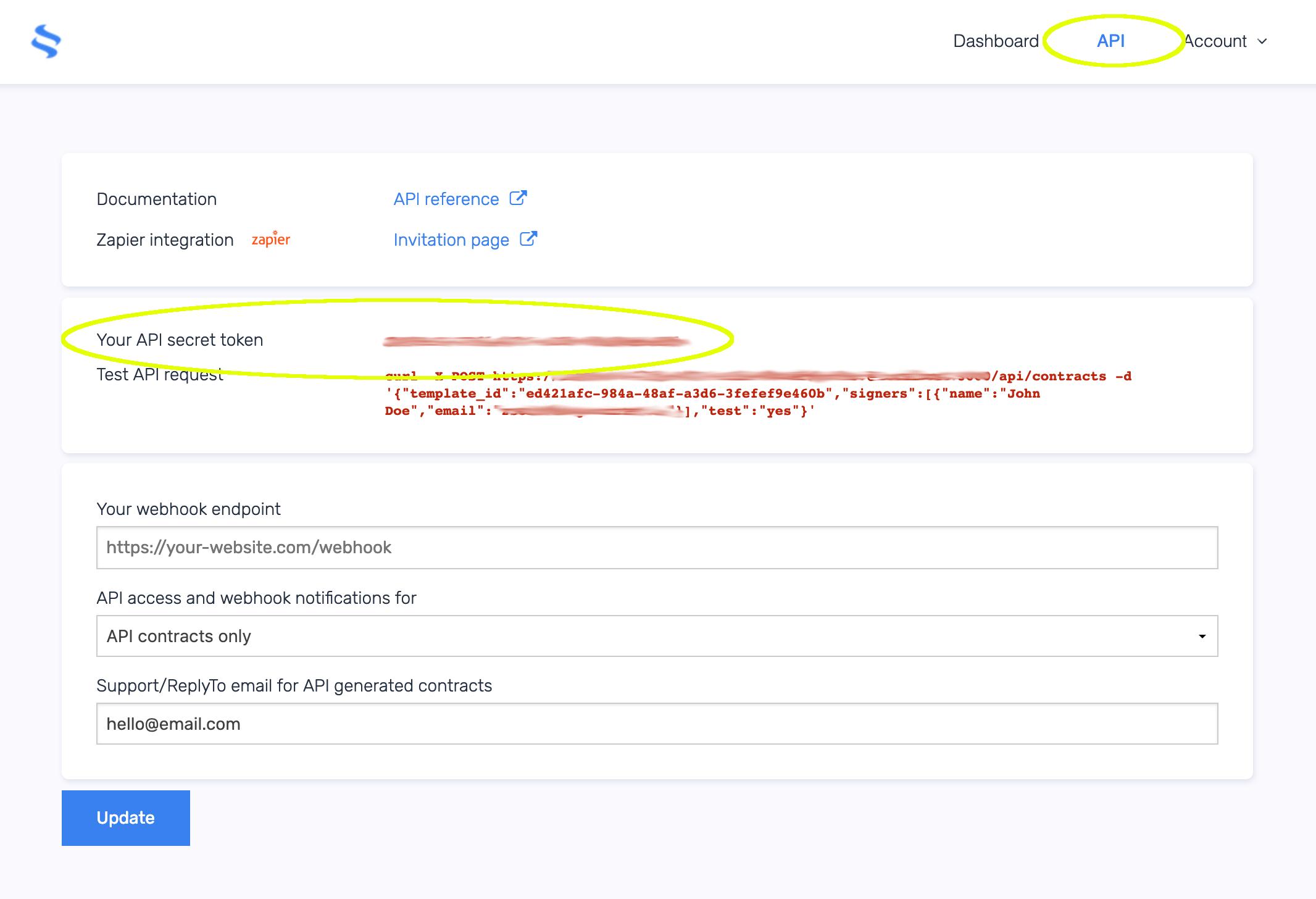 eSignatures.io API Key in account
