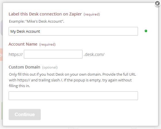 Provide Zapier your Desk account details