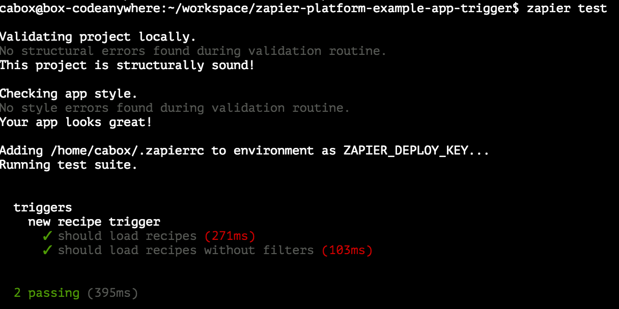 Zapier test on CodeAnywhere