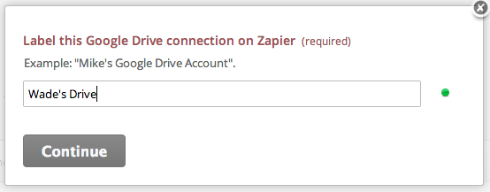 Name the Google Drive account inside Zapier