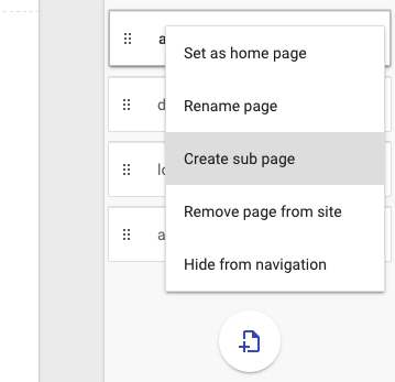 re-arrange Google Sites pages