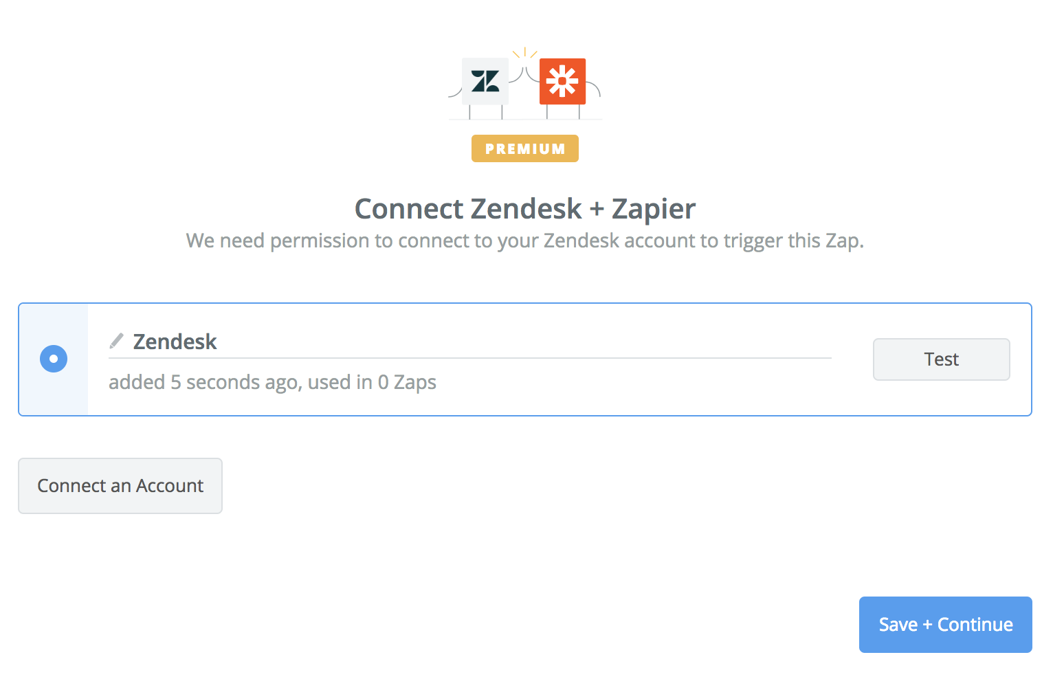 Zendesk connection successful