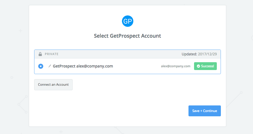 GetProspect connection successful