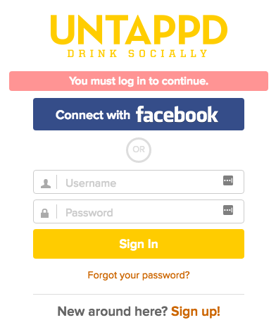 Untappd username and password