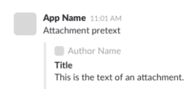 Slack Message Attachment Example