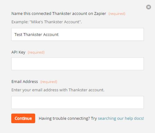 Enter Thanskter API key on Zapier