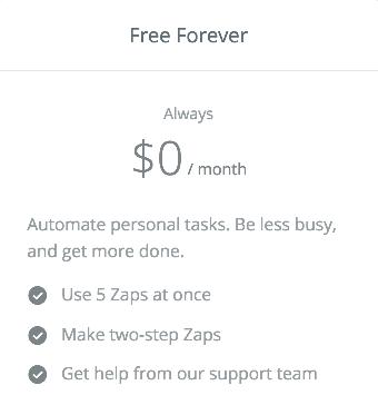 Zapier free plan