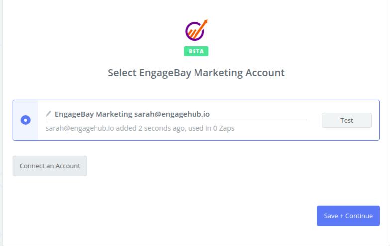 EngageBay Marketing connection successfull