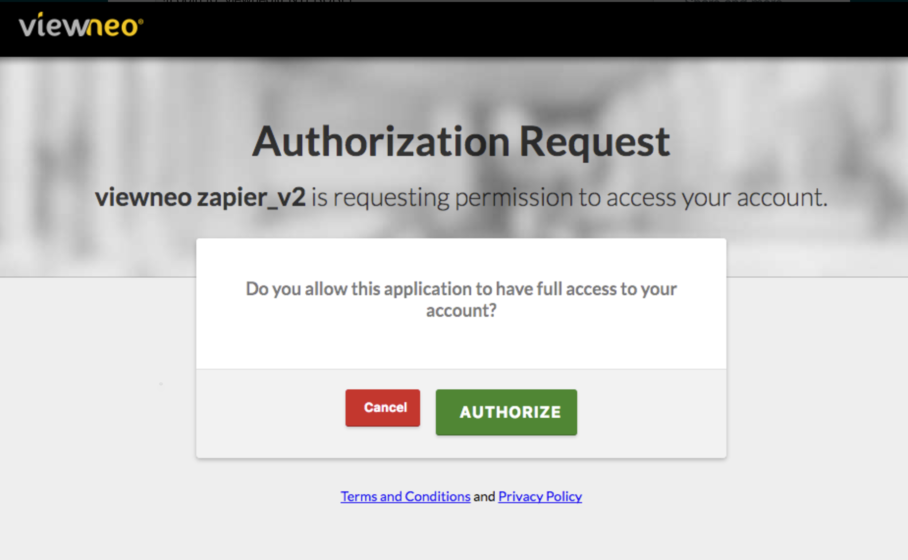 Authorize viewneo on Zapier
