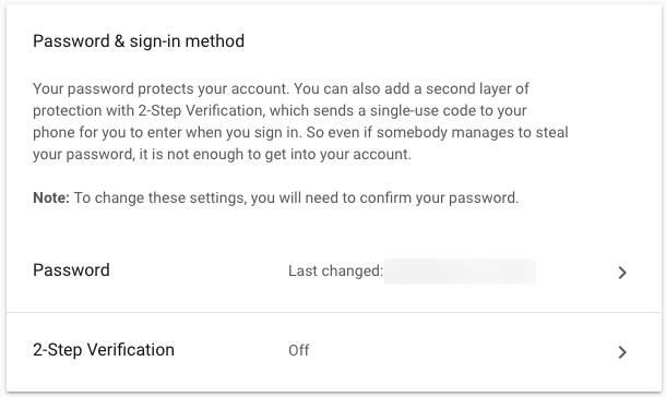 Set Gmail 2-factor settings