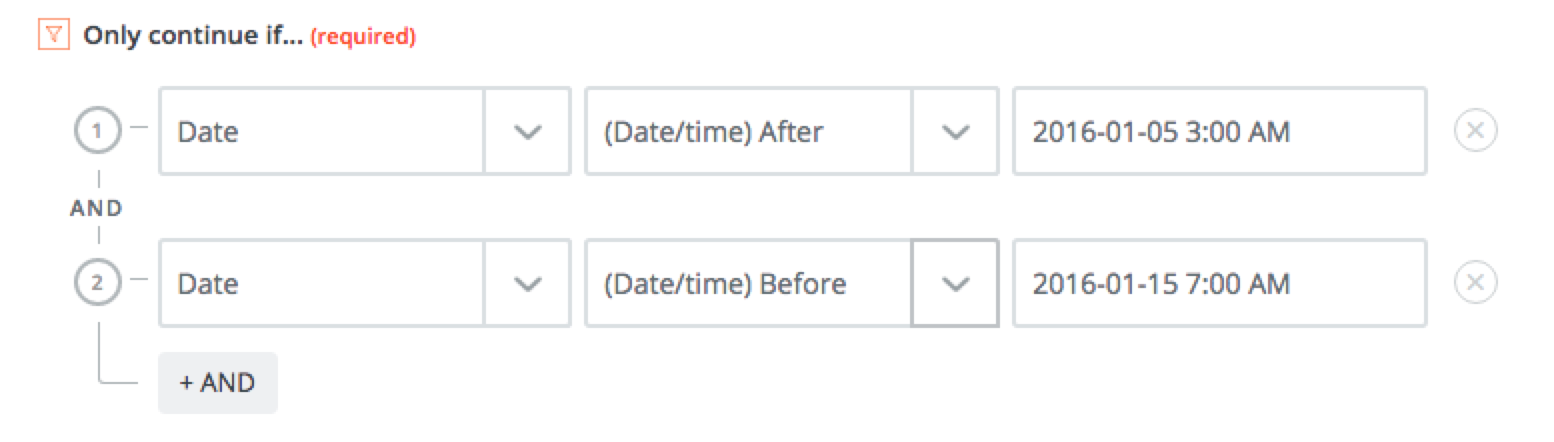 date and time range in a filter