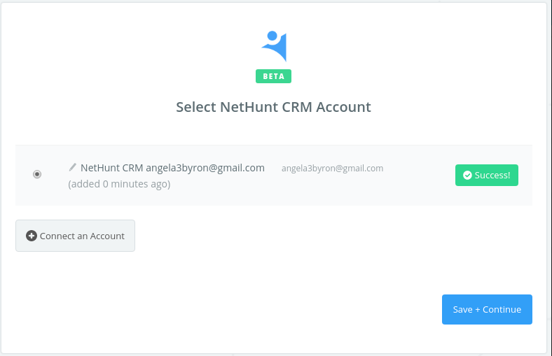 NetHunt CRM connection successfull