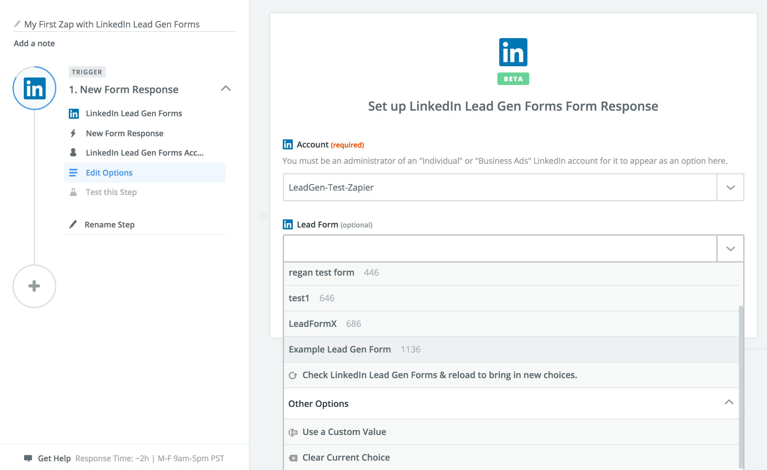 LinkedIn Lead Gen Forms Zapier Integration