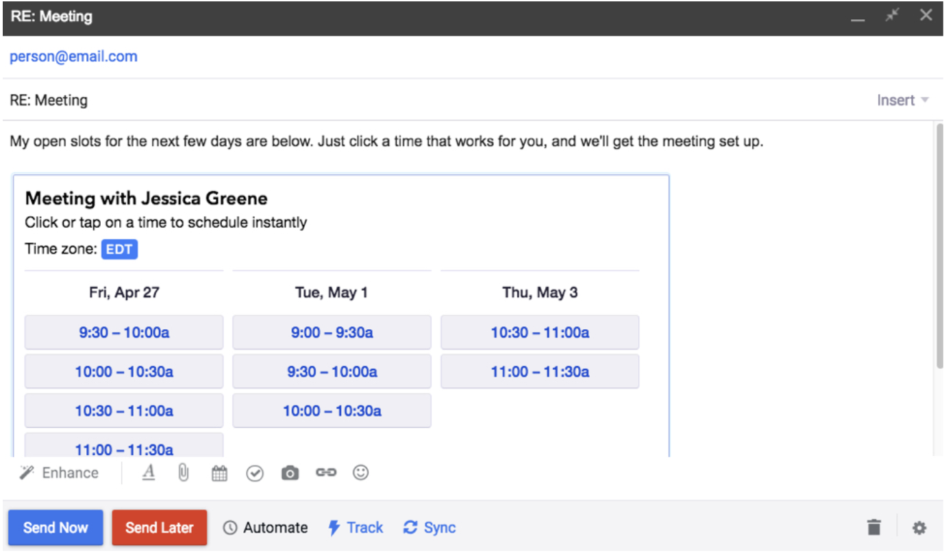 Mixmax view within email