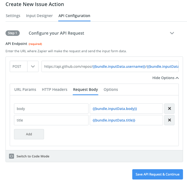 Zapier visual builder input API