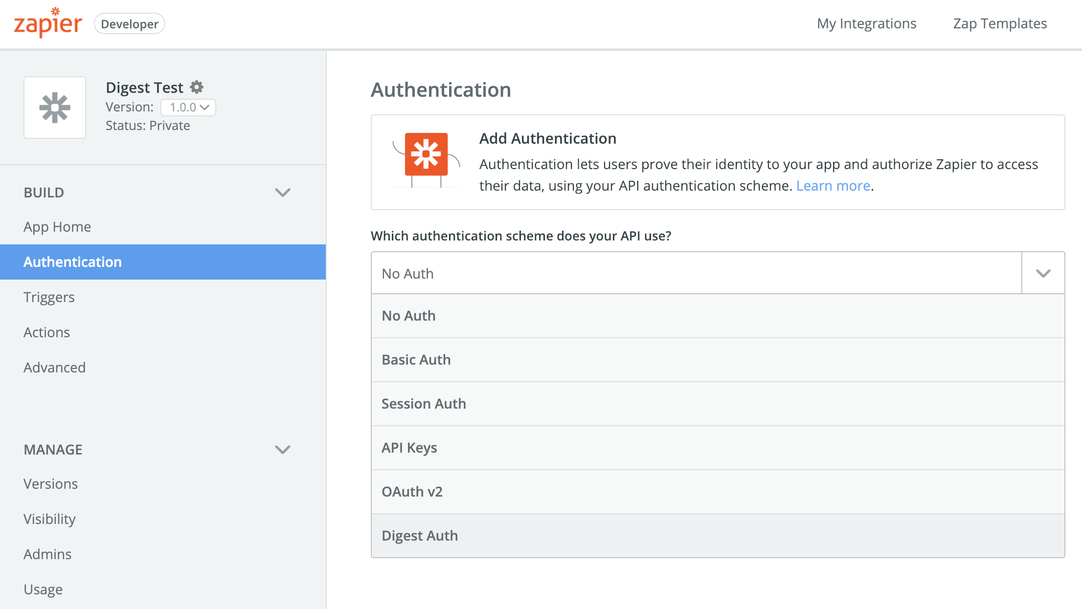 Add Digest Auth to Zapier Integration