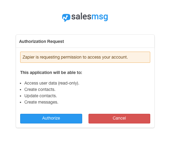 Authorize  Salesmsg on Zapier