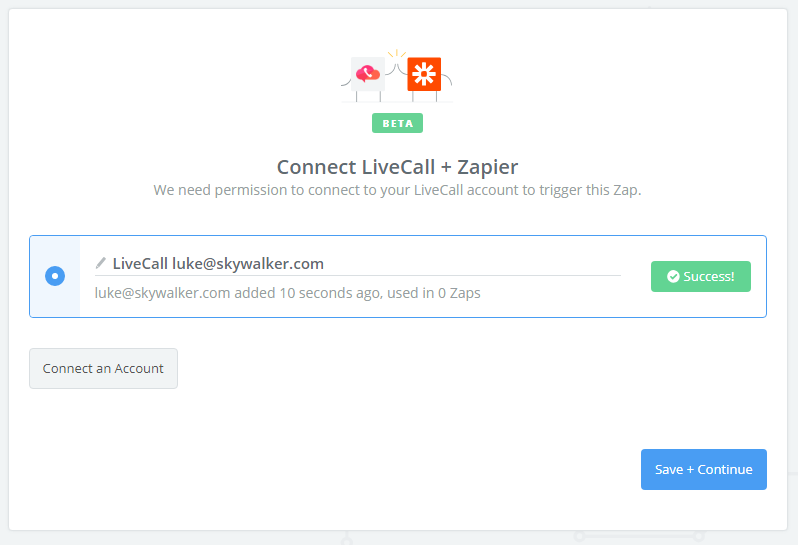 LiveCall connection successful