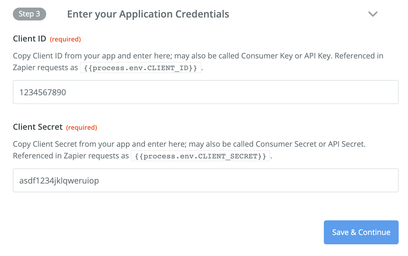 Add application credentials to Zapier