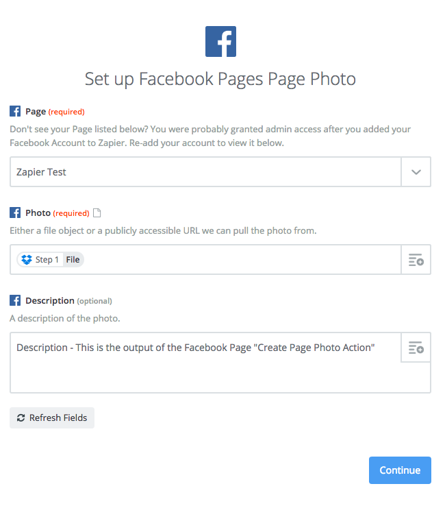 Create Page Photo Action Input