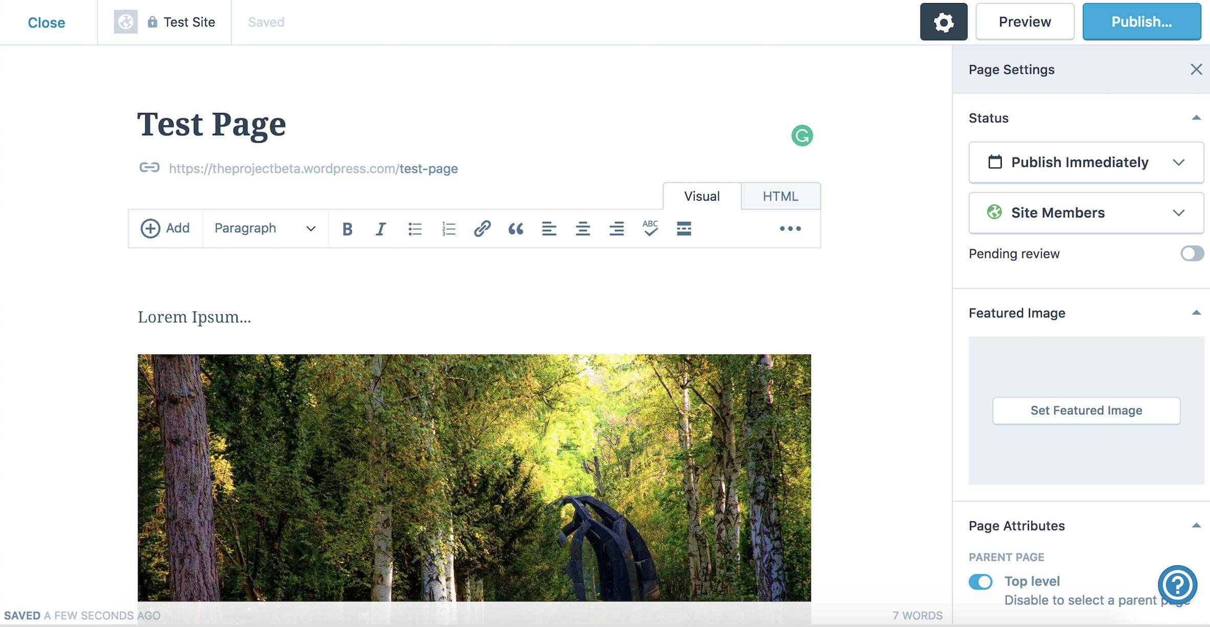 WordPress page builder screenshot